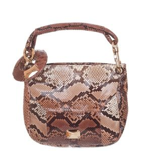 Jimmy Choo Brown Python Snakeskin Logo Hobo Bag